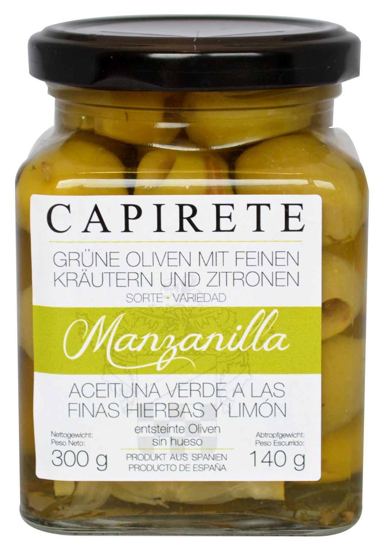 Grüne Oliven mit Kräutern und - Zitronenstücken - Capirete, Jerez de la Frontera 300g