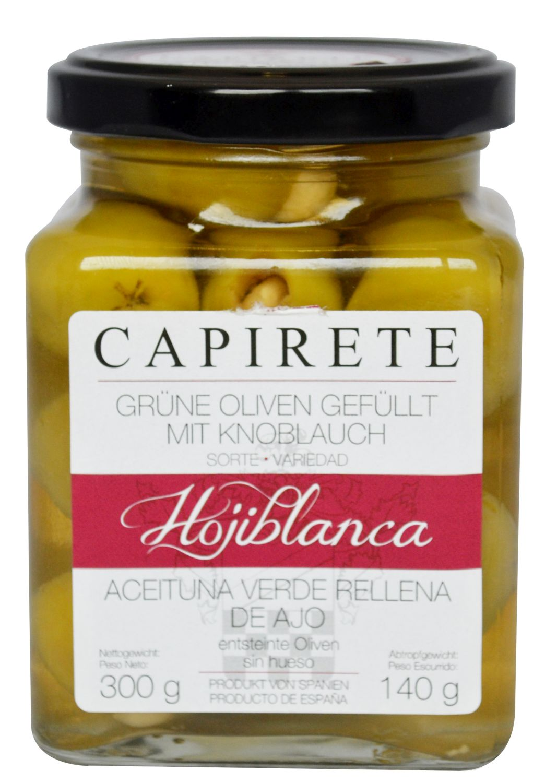 Grüne Oliven mit Knoblauch - Hojiblanca Oliven mit Knoblauch 300g - Capirete, Jerez de la Frontera