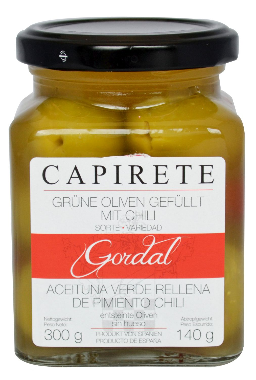 Grüne Oliven gefüllt mit Chili - Capirete, Jerez de la Frontera 300g